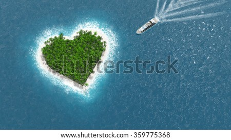 Heart island. A luxury boat is sailing to the island. Love concept.
