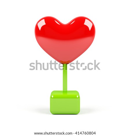 Heart  isolated on white background. 3D rendering image. - stock photo