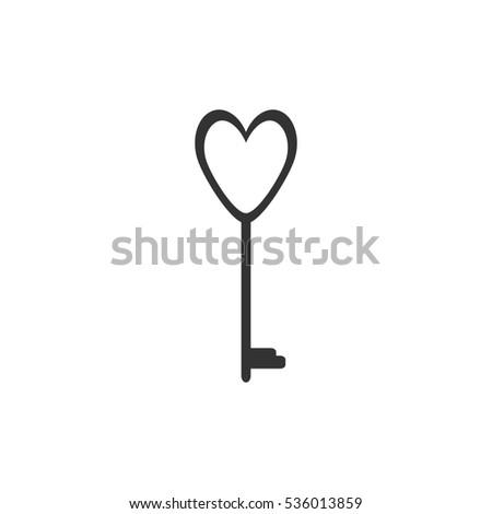 Heart Key Icon Flat Grey Symbol Stock Illustration 536013859