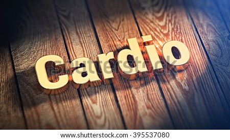 """Heart loads. The word """"Cardio"""" is lined with gold letters on wooden planks. 3D illustration picture - stock photo"""