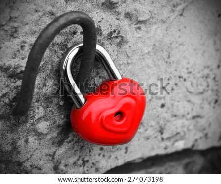 heart lock concept of love black and white photo red vintage retro - stock photo
