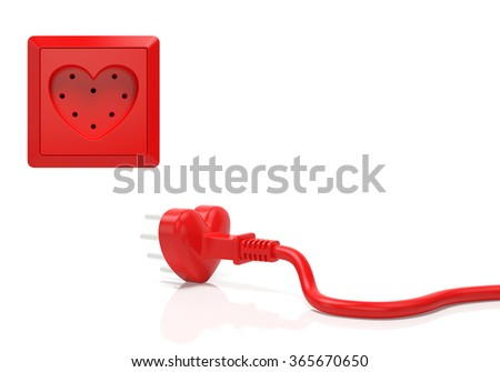 Heart love passion creative concept. Electric plug and power socket in the form of red heart as symbol of Valentine day, infatuation, wedding, romantic date, love in every home or time for love - stock photo