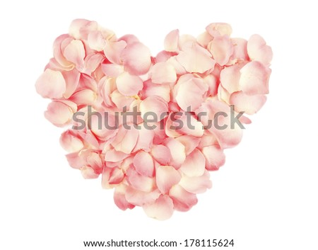 Heart made by rose petals