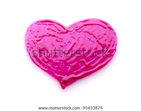 Heart Made from Fluid Lips Gloss Isolated on White Background - stock photo