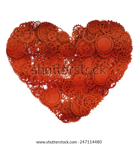 Heart made from gears. 3d illustration - stock photo