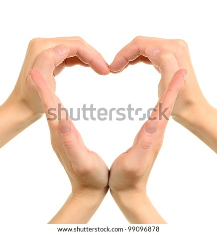 Heart made from hands conceptual symbol isolated on white - stock photo