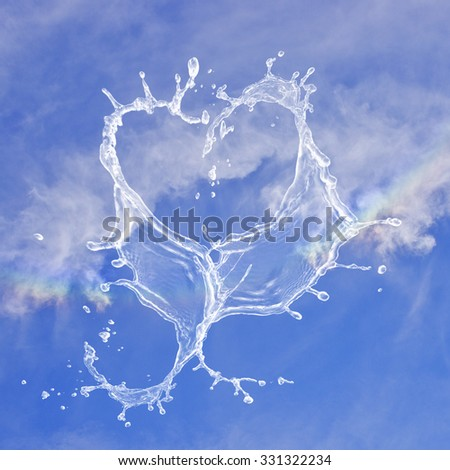 Heart made from splashed water on blue sky background. Better times/weather for gay people. Rainbow Colors Gay Lesbian. - stock photo