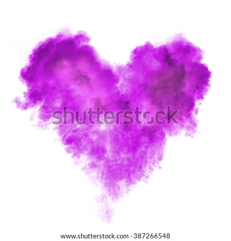 heart made of black powder explosion isolated on white background - stock photo