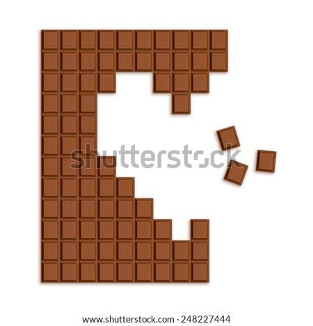 Heart made of Chocolate bar pieces. Creative illustration - stock photo