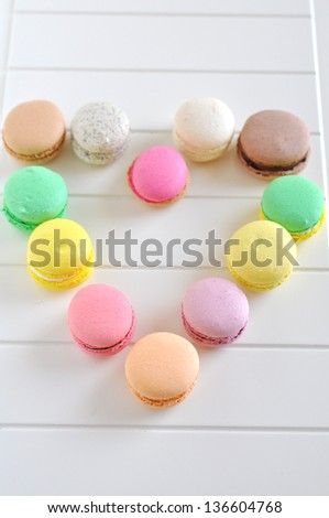 Heart made of French Macaroons - stock photo