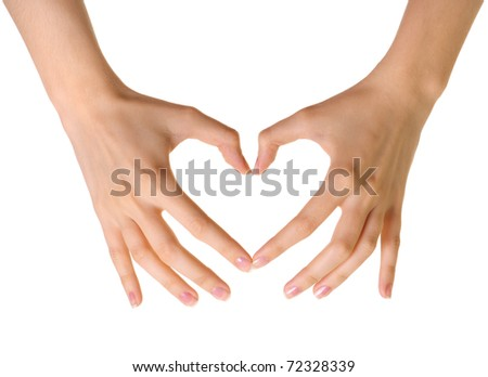 Heart made of hands isolated on white background - stock photo