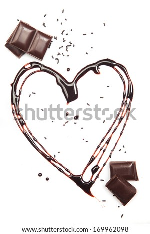 Heart made of melted chocolate isolated on white background