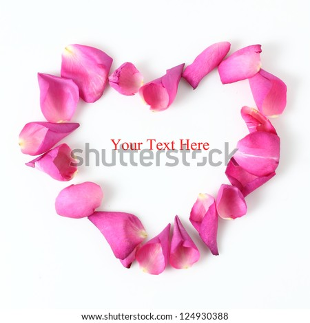 Heart Made Of Pink Rose Petals With Copy Space - stock photo