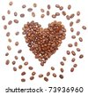 heart made of roasted coffee on a white background - stock photo