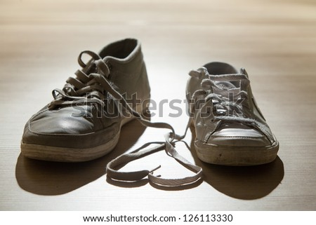 Heart made of shoelaces - stock photo