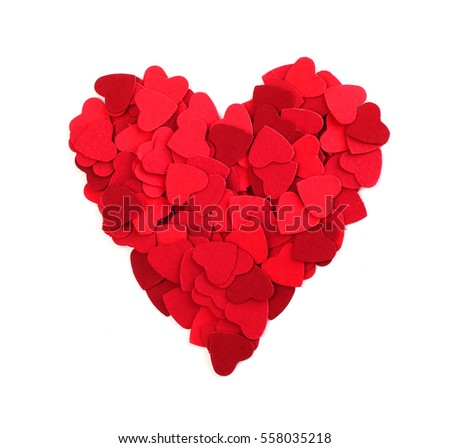 Heart made of small paper hearts, isolated on white background, Valentines day concept