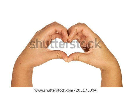 Heart made with hands - stock photo