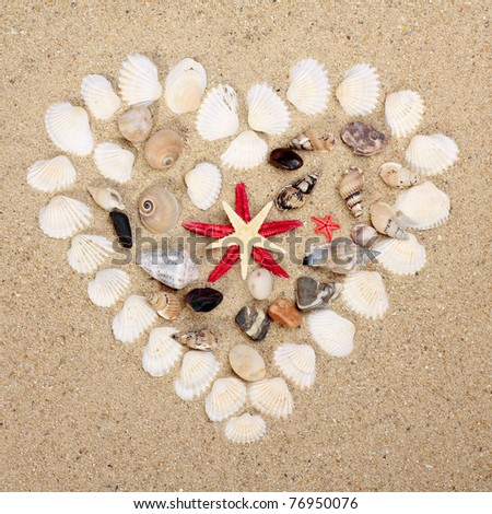 heart made with shells - stock photo