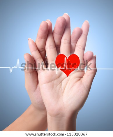 Heart, Man and woman hands