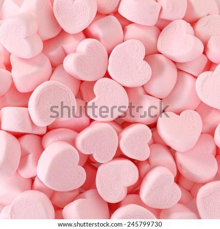Heart Marshmallows Background   - stock photo