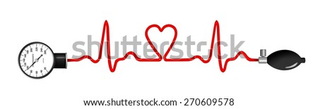 Heart monitor (Electrocardiogram or ECG) with a shape of heart and heart shaped sphygmomanometer pump and sphygmomanometer