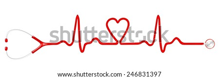 Heart monitor (Electrocardiogram or ECG) with a shape of heart and stethoscope