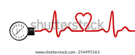 Heart monitor (Electrocardiogram or ECG) with a silhouette of heart and sphygmomanometer