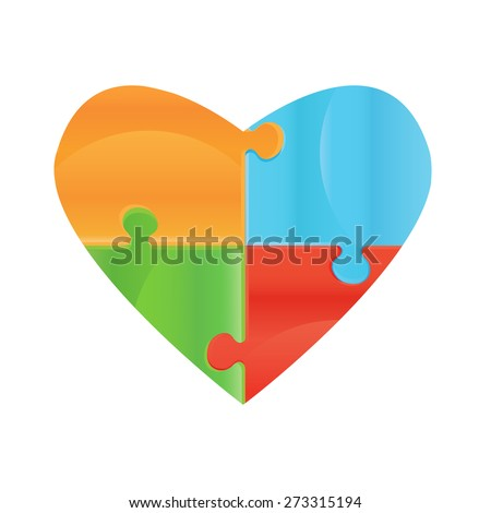Heart object made of puzzle pieces. Isolated puzzle pieces on white background  Design elements for your logo. Puzzle presentation template field for business - stock photo