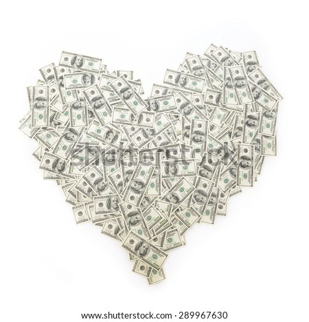 Heart of banknote denominations of 100 dollars. Background with money american hundred dollar bills. Love and money, love of money concept. - stock photo