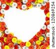 Heart of beautiful gerberas flowers - stock photo