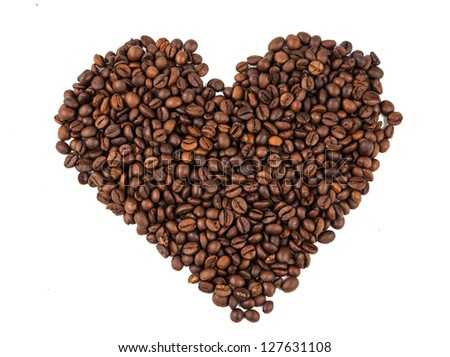 Heart of coffee beans on a white background