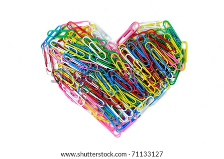 Heart of color paper clip isolated on white background