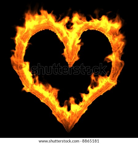 Heart of Fire. Render - stock photo