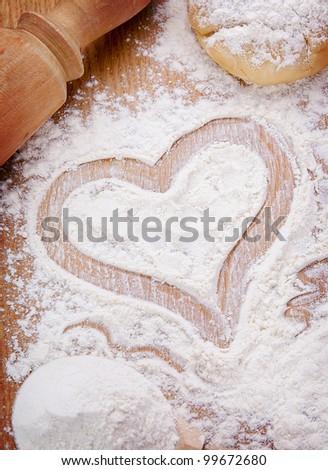 Heart of flour - stock photo