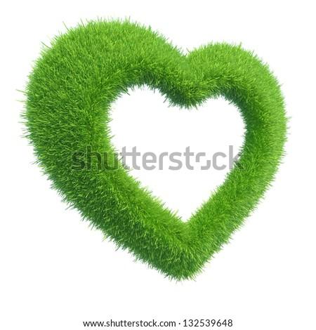 heart of green grass - stock photo