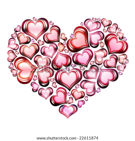 Heart of hearts in red with white background - stock photo