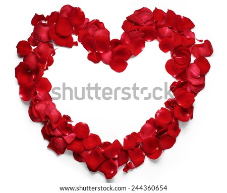Heart of red rose petals isolated on white background - stock photo