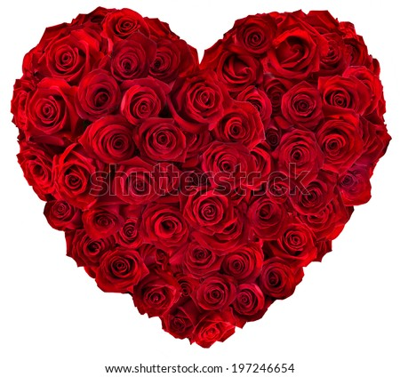Heart of red roses  - stock photo