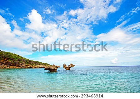 Heart of rock and beautiful sea, Okinawa, Japan - stock photo