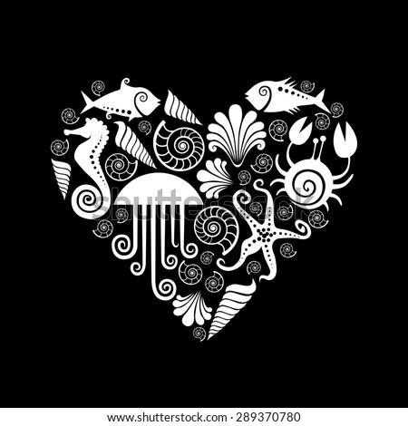 Heart of sea fauna icons. Original design element. Black and white decorative illustration for print, web - stock photo