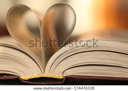 heart of the book leaves background - stock photo