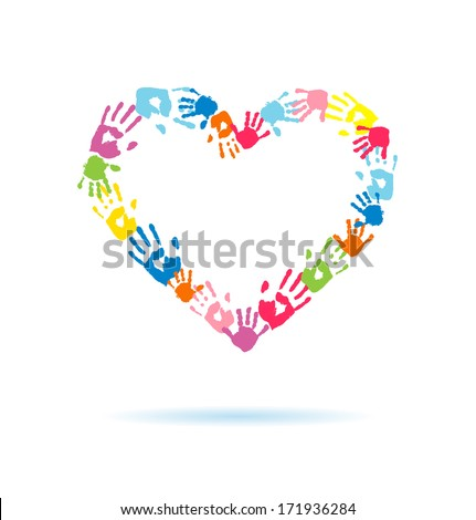 Heart of the hand prints of parents and children - stock photo