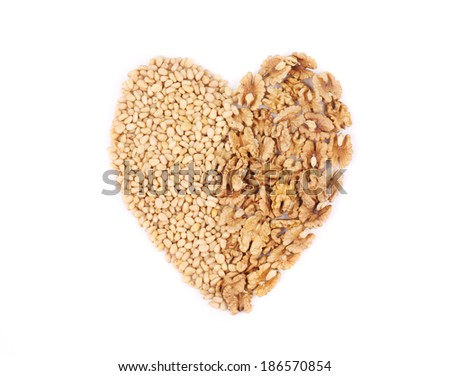 Heart of the pine nuts and walnuts. Isolated on a white background.