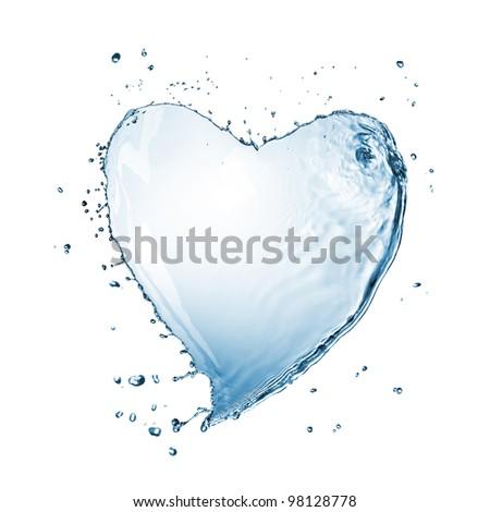Heart of water splash isolated on white - stock photo