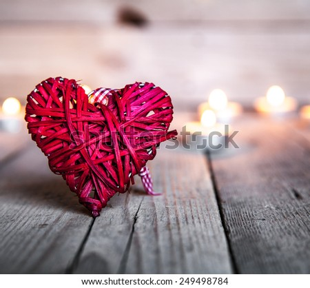 heart on a wooden background. Red, Valentine's Day, Day of the enamored - stock photo