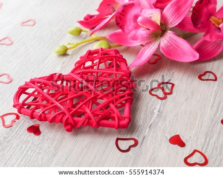 Heart on a wooden board. Valentine's Day greeting card