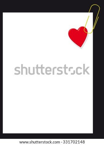 Heart on blank page paper - stock photo