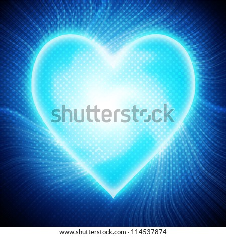 Heart on blue background - stock photo