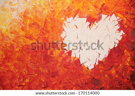 heart on fire, acrylic painting in warm colors - stock photo
