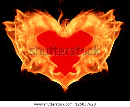 heart on fire, flam symbol - stock photo